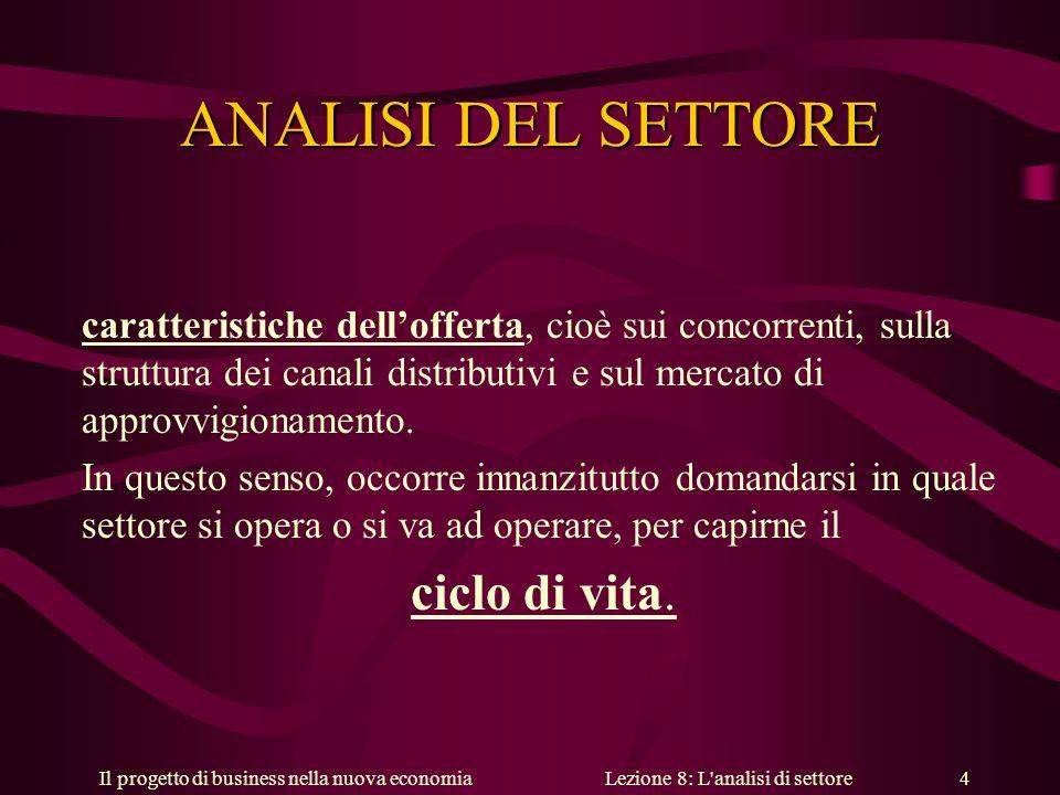 Il progetto di business nella nuova economiaLezione 8: L analisi di settore 4 ANALISI DEL SETTORE caratteristiche dellofferta, cioè sui concorrenti, sulla struttura dei canali distributivi e sul mercato di approvvigionamento.