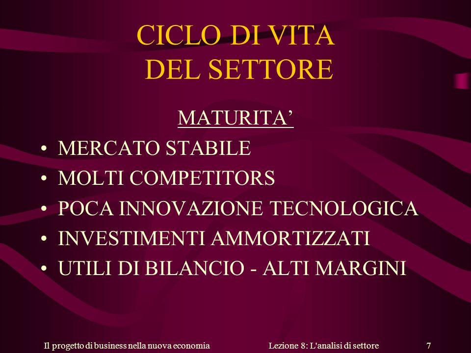 Il progetto di business nella nuova economiaLezione 8: L analisi di settore 7 CICLO DI VITA DEL SETTORE MATURITA MERCATO STABILE MOLTI COMPETITORS POCA INNOVAZIONE TECNOLOGICA INVESTIMENTI AMMORTIZZATI UTILI DI BILANCIO - ALTI MARGINI