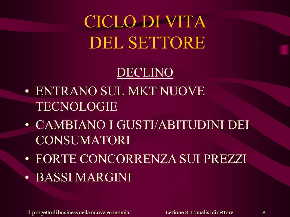Il progetto di business nella nuova economiaLezione 8: L analisi di settore 19 LE STRATEGIE DI LANCIO 3.