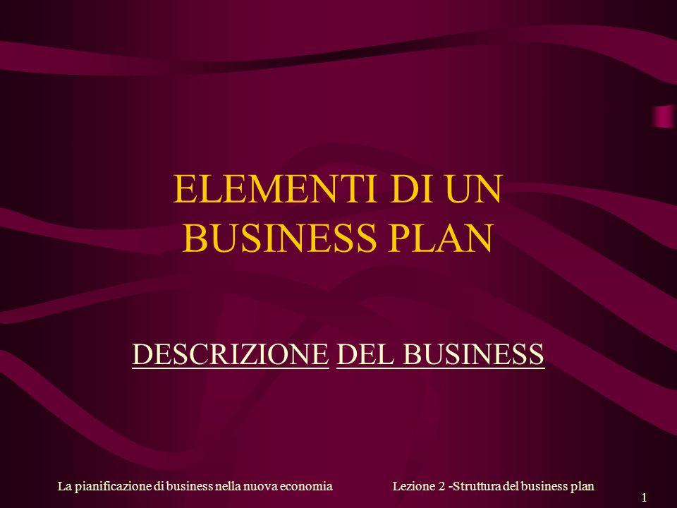 La pianificazione di business nella nuova economiaLezione 2 -Struttura del business plan 1 ELEMENTI DI UN BUSINESS PLAN DESCRIZIONE DEL BUSINESS