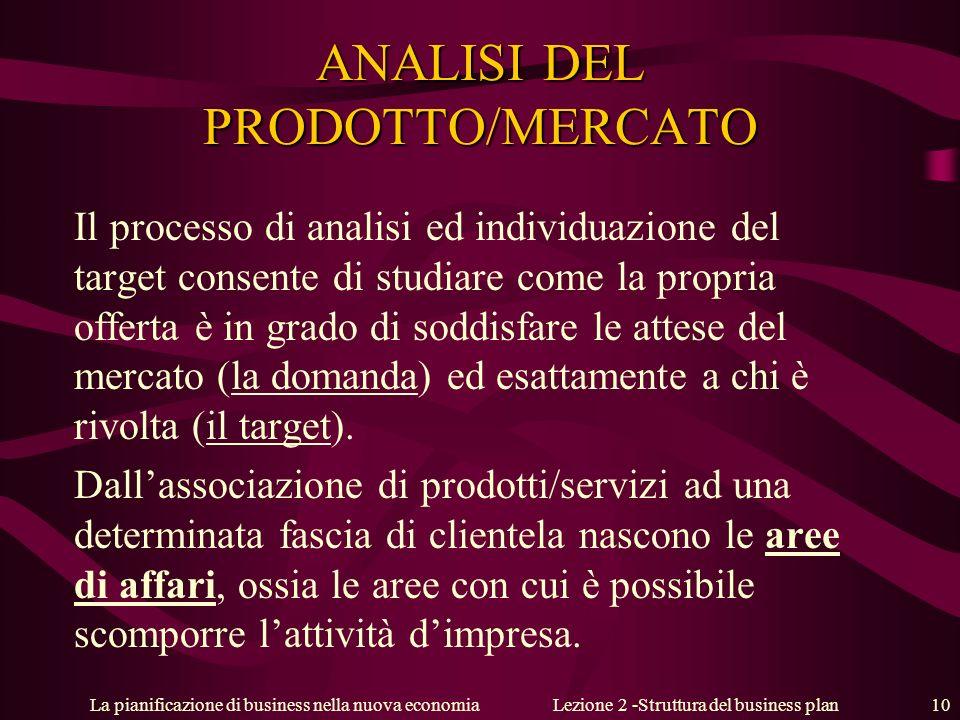 La pianificazione di business nella nuova economiaLezione 2 -Struttura del business plan 10 ANALISI DEL PRODOTTO/MERCATO Il processo di analisi ed ind