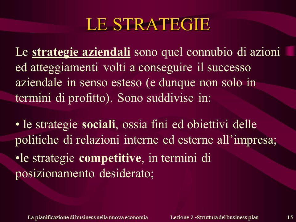La pianificazione di business nella nuova economiaLezione 2 -Struttura del business plan 15 LE STRATEGIE Le strategie aziendali sono quel connubio di azioni ed atteggiamenti volti a conseguire il successo aziendale in senso esteso (e dunque non solo in termini di profitto).