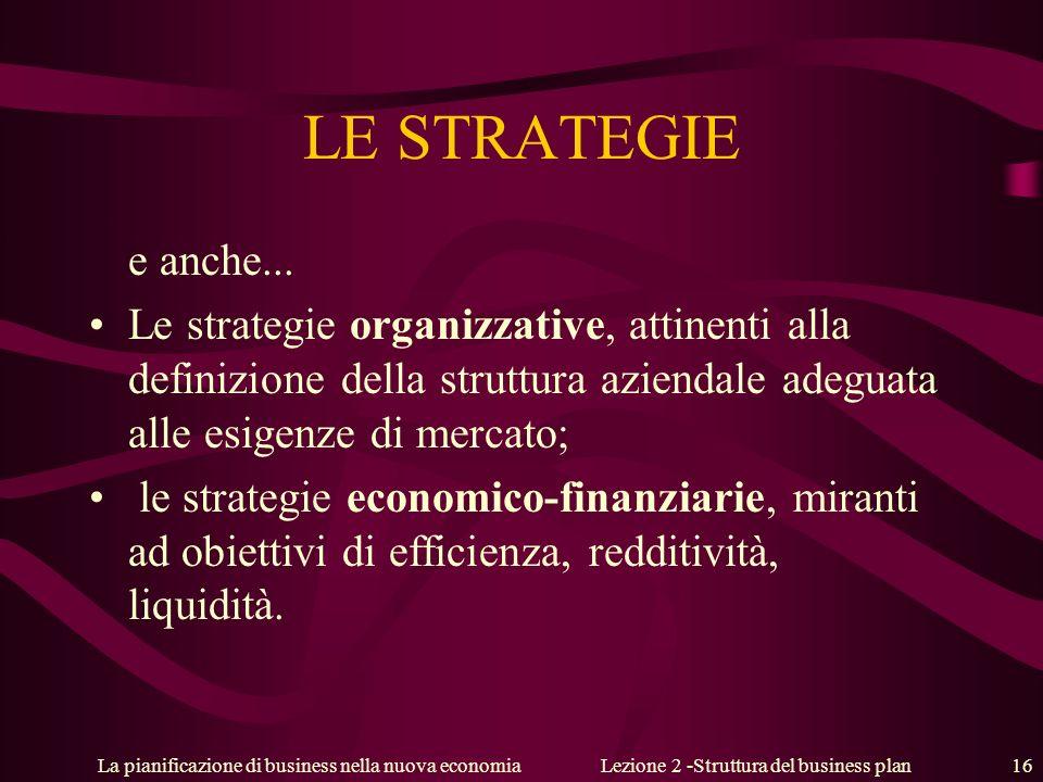 La pianificazione di business nella nuova economiaLezione 2 -Struttura del business plan 16 LE STRATEGIE e anche... Le strategie organizzative, attine