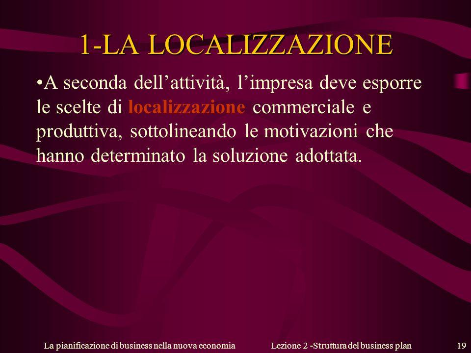 La pianificazione di business nella nuova economiaLezione 2 -Struttura del business plan 19 1-LA LOCALIZZAZIONE A seconda dellattività, limpresa deve