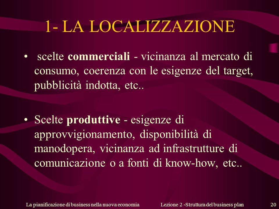 La pianificazione di business nella nuova economiaLezione 2 -Struttura del business plan 20 1- LA LOCALIZZAZIONE scelte commerciali - vicinanza al mercato di consumo, coerenza con le esigenze del target, pubblicità indotta, etc..