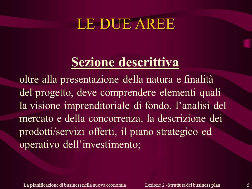 La pianificazione di business nella nuova economiaLezione 2 -Struttura del business plan 5 LE DUE AREE Sezione descrittiva oltre alla presentazione de