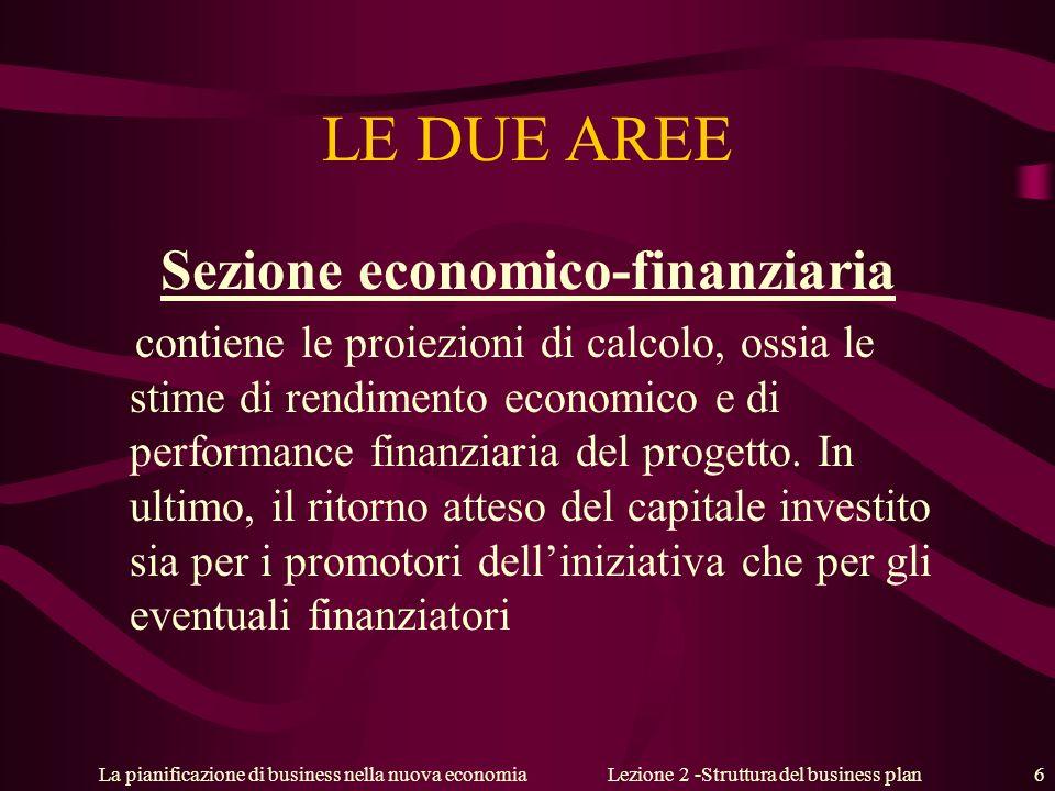 La pianificazione di business nella nuova economiaLezione 2 -Struttura del business plan 6 LE DUE AREE Sezione economico-finanziaria contiene le proiezioni di calcolo, ossia le stime di rendimento economico e di performance finanziaria del progetto.