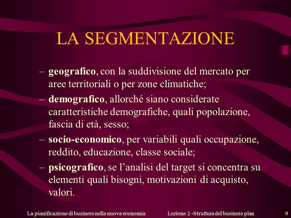 La pianificazione di business nella nuova economiaLezione 2 -Struttura del business plan 9 LA SEGMENTAZIONE –geografico, con la suddivisione del merca