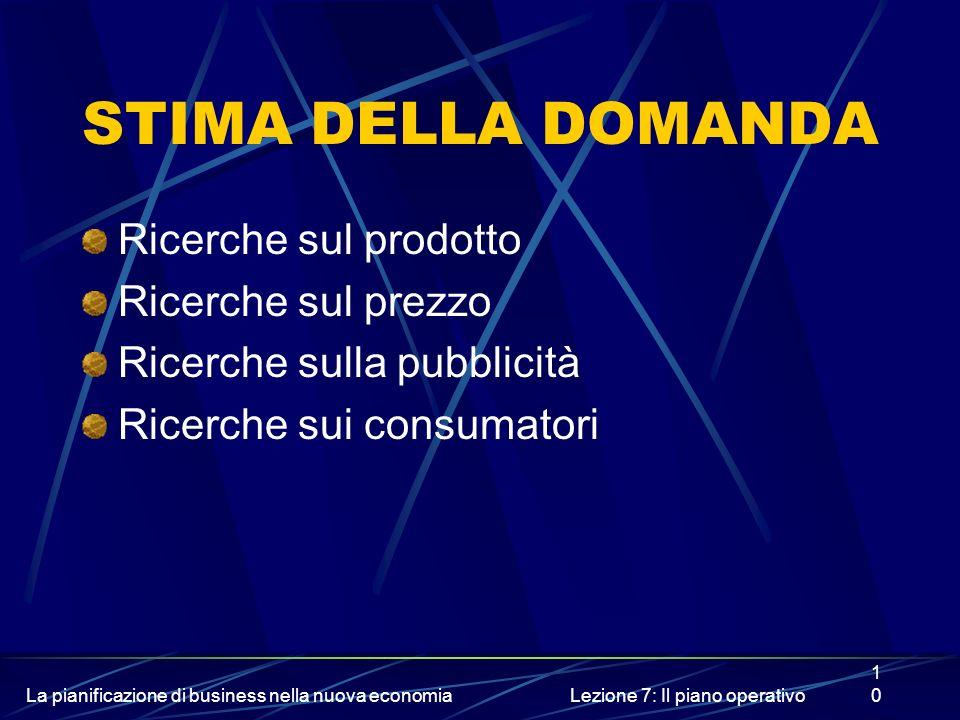 La pianificazione di business nella nuova economiaLezione 7: Il piano operativo10 STIMA DELLA DOMANDA Ricerche sul prodotto Ricerche sul prezzo Ricerc