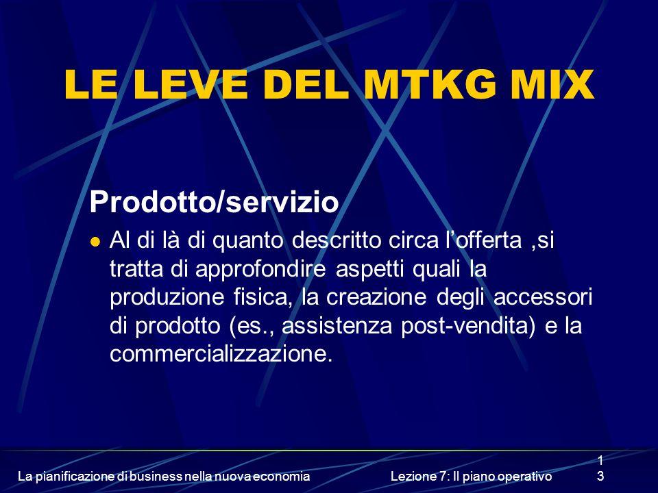 La pianificazione di business nella nuova economiaLezione 7: Il piano operativo13 LE LEVE DEL MTKG MIX Prodotto/servizio Al di là di quanto descritto circa lofferta,si tratta di approfondire aspetti quali la produzione fisica, la creazione degli accessori di prodotto (es., assistenza post-vendita) e la commercializzazione.