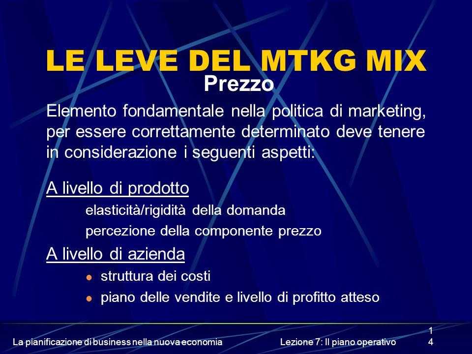 La pianificazione di business nella nuova economiaLezione 7: Il piano operativo14 LE LEVE DEL MTKG MIX Prezzo Elemento fondamentale nella politica di