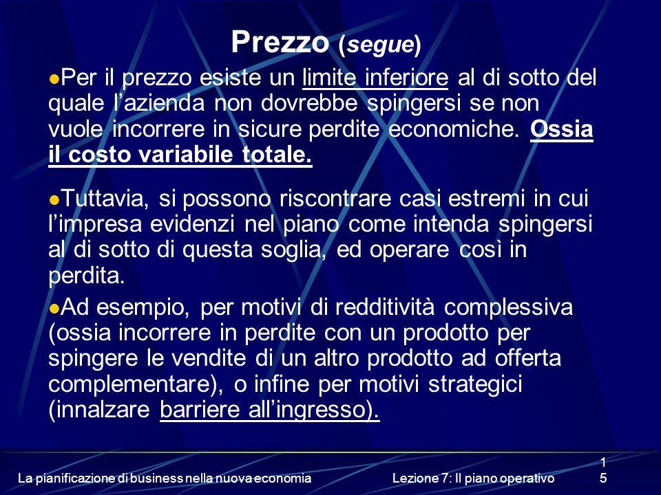 La pianificazione di business nella nuova economiaLezione 7: Il piano operativo15 Prezzo (segue) Per il prezzo esiste un limite inferiore al di sotto del quale lazienda non dovrebbe spingersi se non vuole incorrere in sicure perdite economiche.