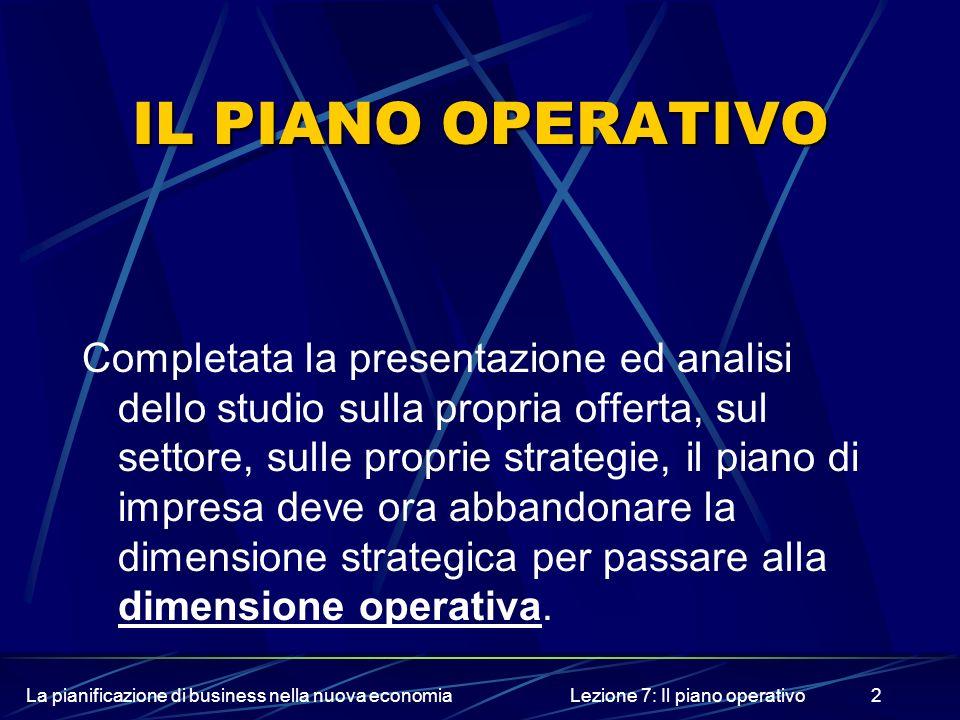 La pianificazione di business nella nuova economiaLezione 7: Il piano operativo2 IL PIANO OPERATIVO Completata la presentazione ed analisi dello studi