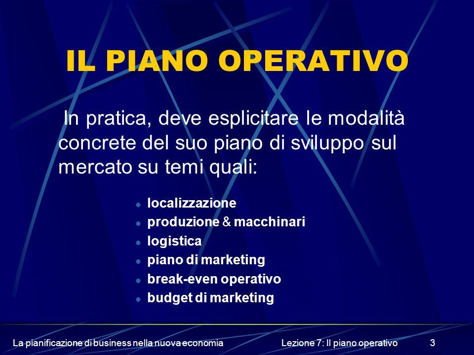 La pianificazione di business nella nuova economiaLezione 7: Il piano operativo4 1-LA LOCALIZZAZIONE A seconda dellattività, limpresa deve esporre le scelte di localizzazione commerciale e produttiva, sottolineando le motivazioni che hanno determinato la soluzione adottata.