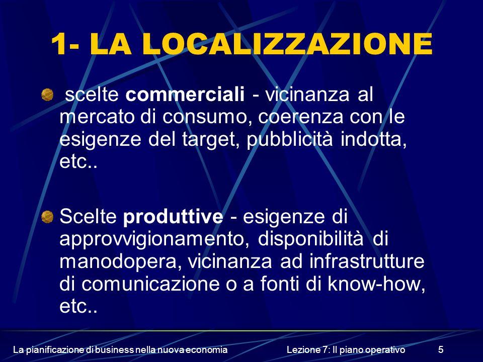 La pianificazione di business nella nuova economiaLezione 7: Il piano operativo5 1- LA LOCALIZZAZIONE scelte commerciali - vicinanza al mercato di con