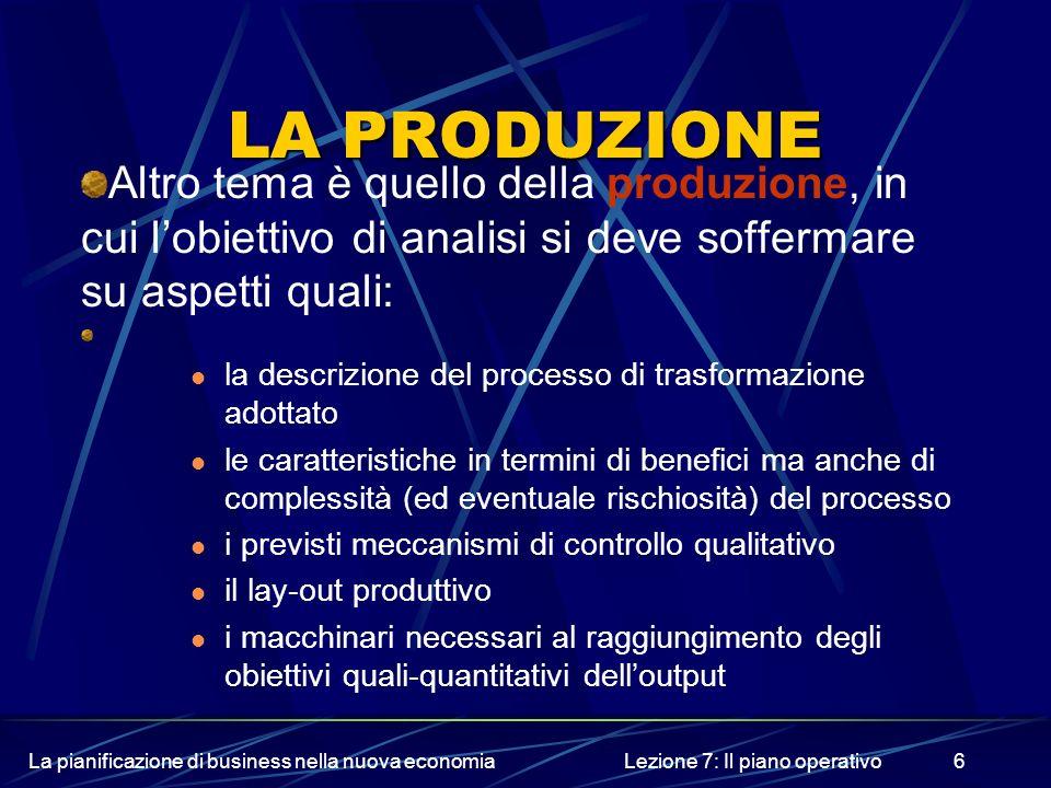 La pianificazione di business nella nuova economiaLezione 7: Il piano operativo6 LA PRODUZIONE Altro tema è quello della produzione, in cui lobiettivo