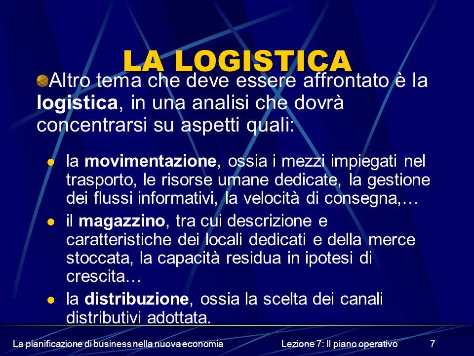 La pianificazione di business nella nuova economiaLezione 7: Il piano operativo7 LA LOGISTICA Altro tema che deve essere affrontato è la logistica, in