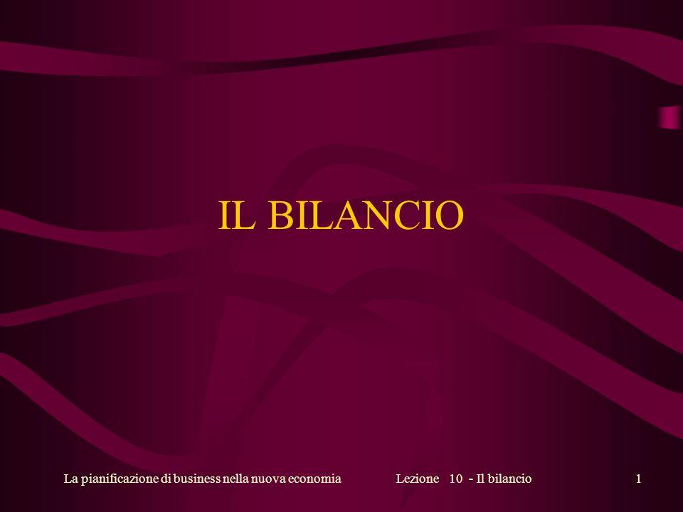 La pianificazione di business nella nuova economiaLezione 10 - Il bilancio1 IL BILANCIO