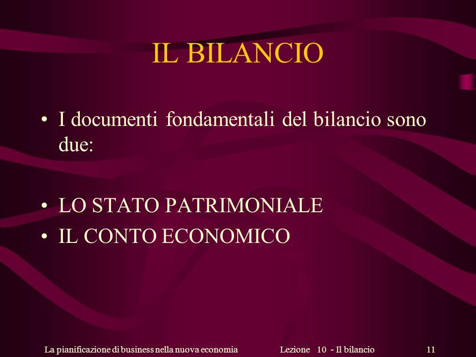 La pianificazione di business nella nuova economiaLezione 10 - Il bilancio 11 IL BILANCIO I documenti fondamentali del bilancio sono due: LO STATO PAT