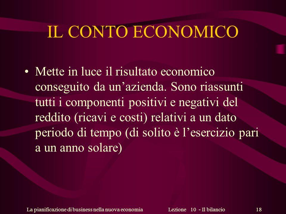 La pianificazione di business nella nuova economiaLezione 10 - Il bilancio 18 IL CONTO ECONOMICO Mette in luce il risultato economico conseguito da un