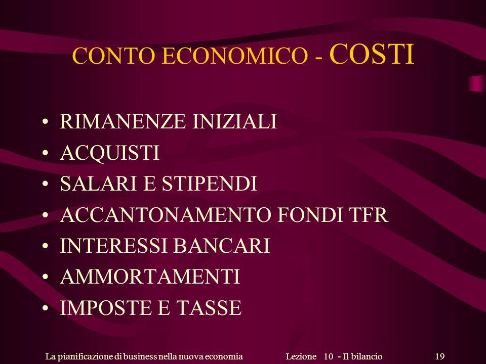 La pianificazione di business nella nuova economiaLezione 10 - Il bilancio 19 CONTO ECONOMICO - COSTI RIMANENZE INIZIALI ACQUISTI SALARI E STIPENDI AC