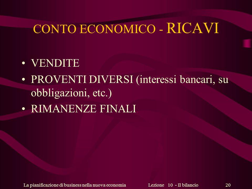 La pianificazione di business nella nuova economiaLezione 10 - Il bilancio 20 CONTO ECONOMICO - RICAVI VENDITE PROVENTI DIVERSI (interessi bancari, su