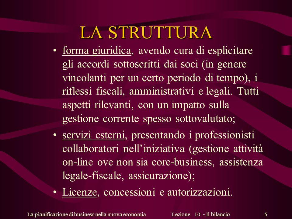 La pianificazione di business nella nuova economiaLezione 10 - Il bilancio 5 LA STRUTTURA forma giuridica, avendo cura di esplicitare gli accordi sott
