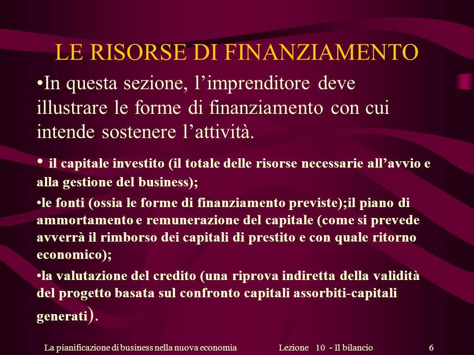 La pianificazione di business nella nuova economiaLezione 10 - Il bilancio 6 LE RISORSE DI FINANZIAMENTO In questa sezione, limprenditore deve illustr