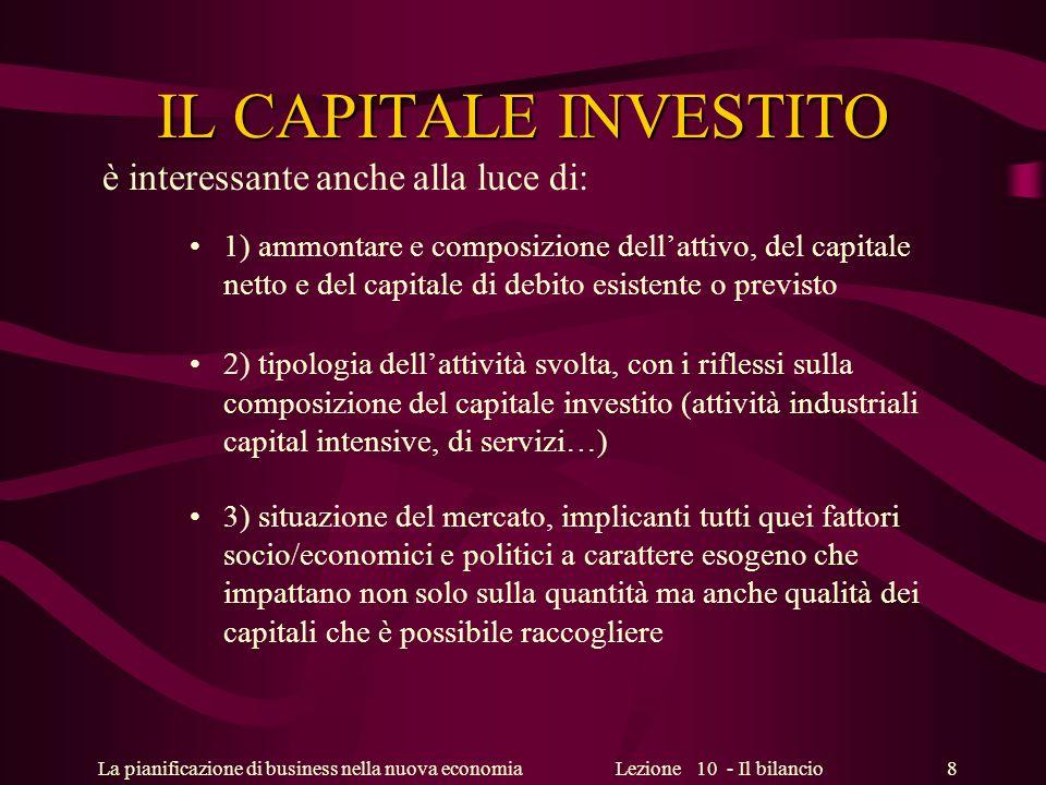La pianificazione di business nella nuova economiaLezione 10 - Il bilancio 8 IL CAPITALE INVESTITO è interessante anche alla luce di: 1) ammontare e c