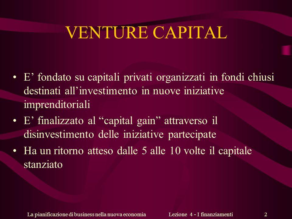 La pianificazione di business nella nuova economiaLezione 4 - I finanziamenti 2 VENTURE CAPITAL E fondato su capitali privati organizzati in fondi chi