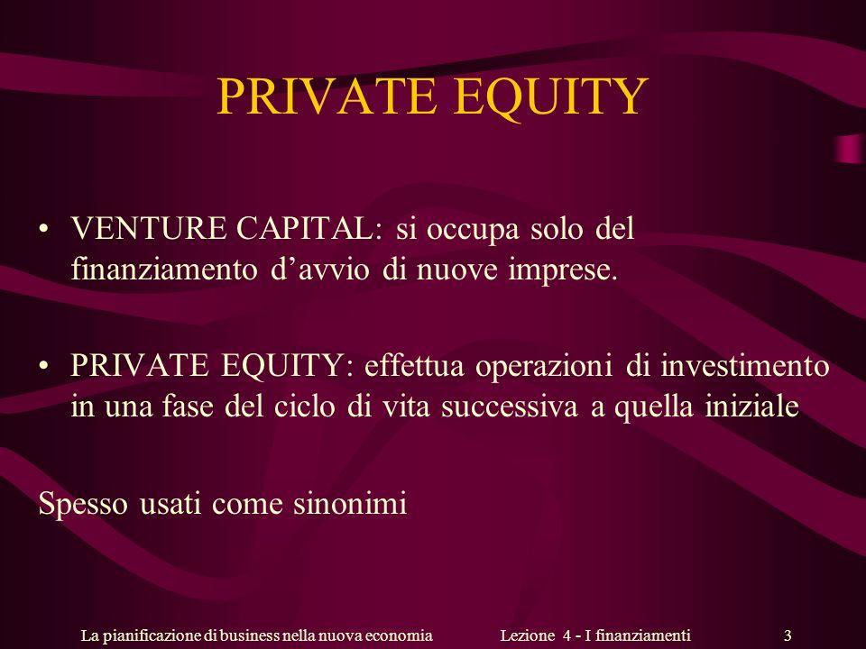 La pianificazione di business nella nuova economiaLezione 4 - I finanziamenti 3 PRIVATE EQUITY VENTURE CAPITAL: si occupa solo del finanziamento davvi