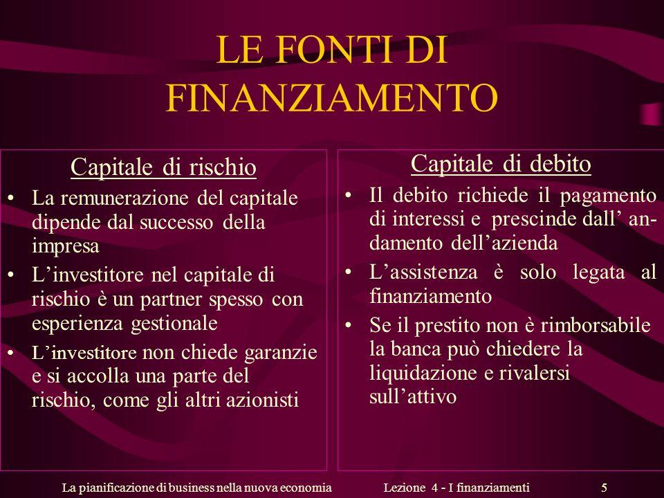 La pianificazione di business nella nuova economiaLezione 4 - I finanziamenti 5 LE FONTI DI FINANZIAMENTO Capitale di rischio La remunerazione del cap