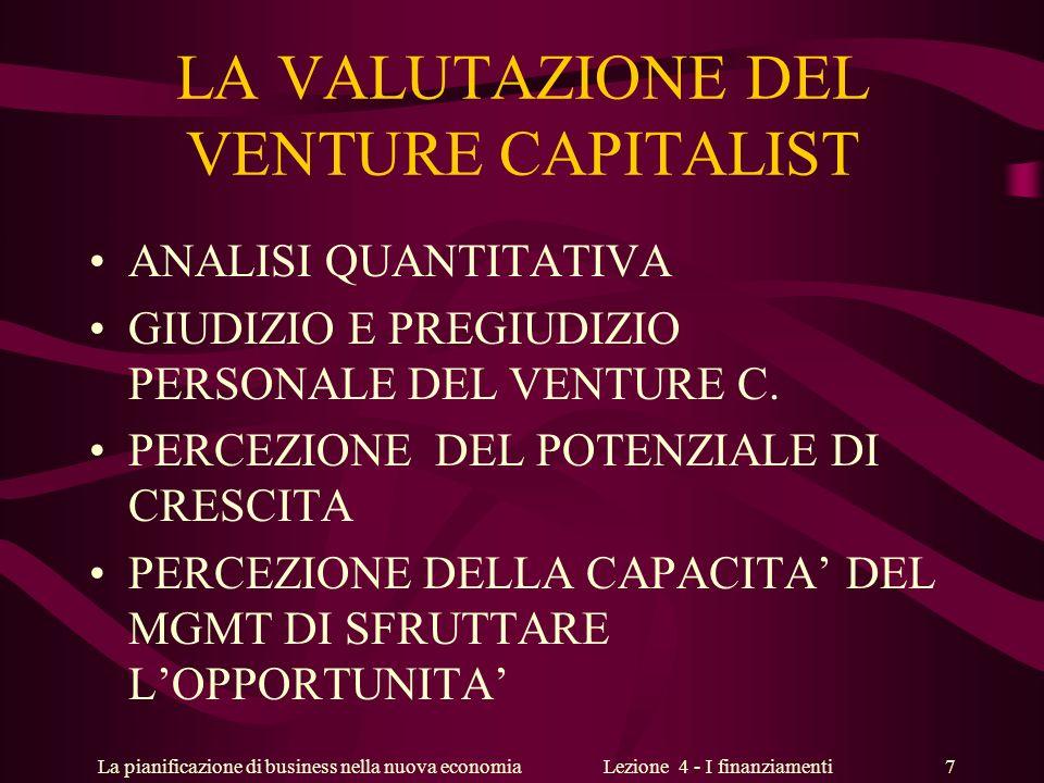 La pianificazione di business nella nuova economiaLezione 4 - I finanziamenti 7 LA VALUTAZIONE DEL VENTURE CAPITALIST ANALISI QUANTITATIVA GIUDIZIO E