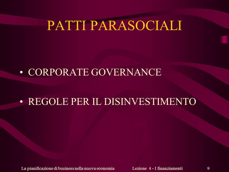 La pianificazione di business nella nuova economiaLezione 4 - I finanziamenti 9 PATTI PARASOCIALI CORPORATE GOVERNANCE REGOLE PER IL DISINVESTIMENTO