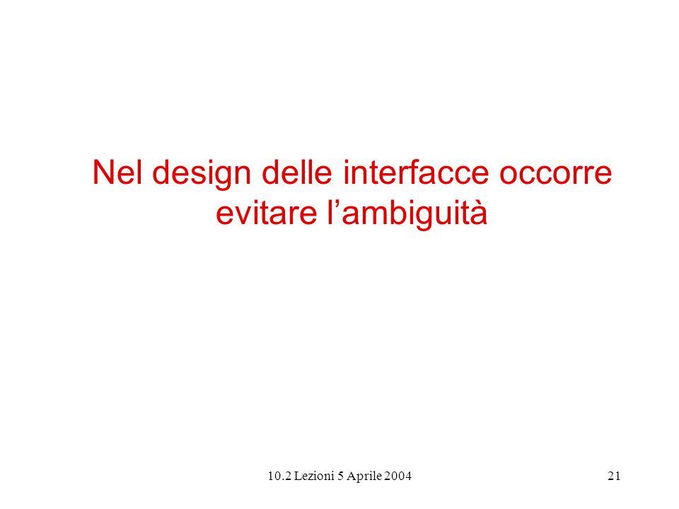 10.2 Lezioni 5 Aprile 200421 Nel design delle interfacce occorre evitare lambiguità