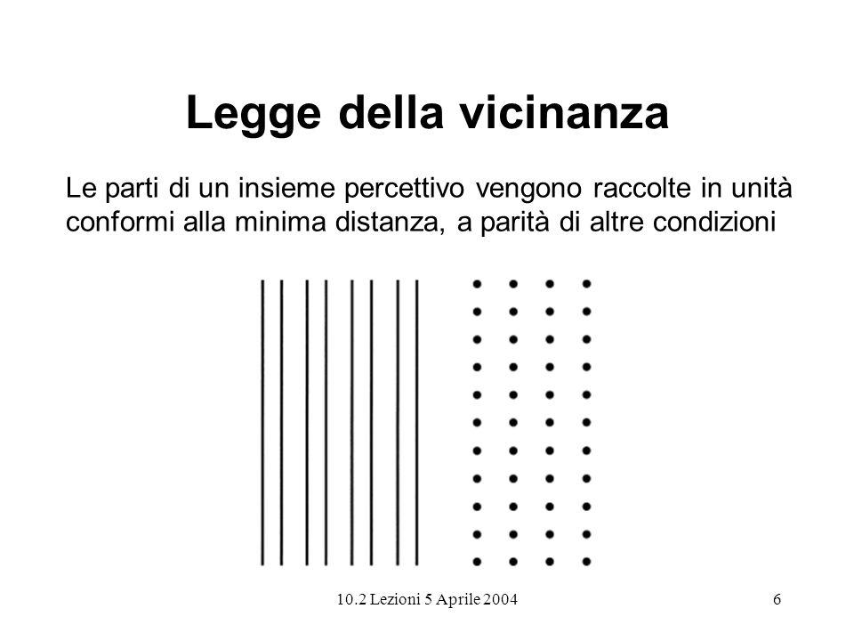 10.2 Lezioni 5 Aprile 20046 Legge della vicinanza Le parti di un insieme percettivo vengono raccolte in unità conformi alla minima distanza, a parità