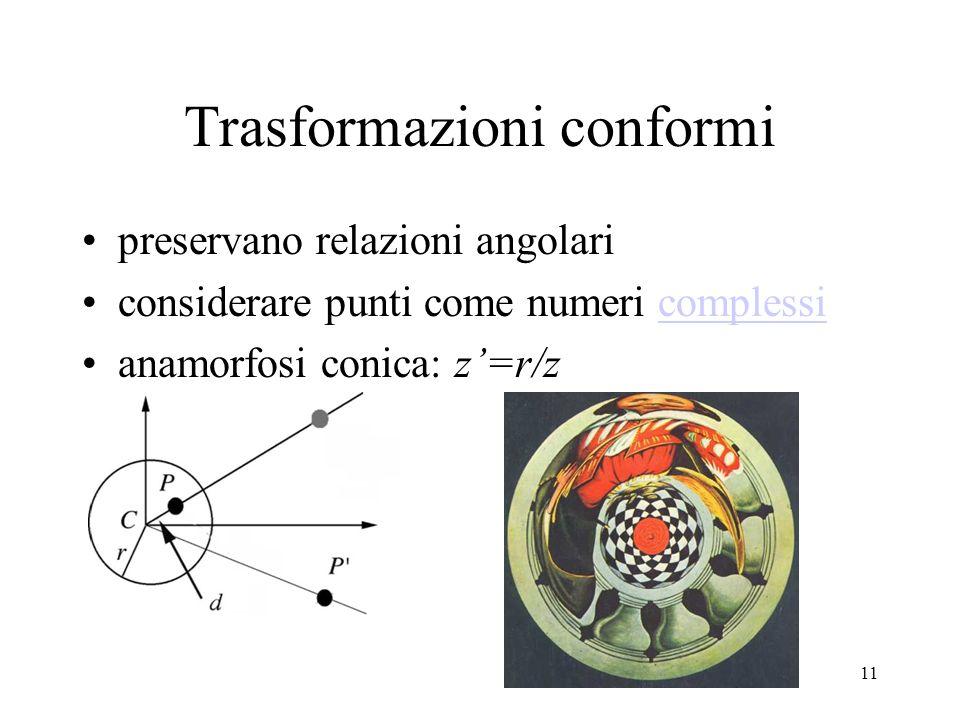 11 Trasformazioni conformi preservano relazioni angolari considerare punti come numeri complessicomplessi anamorfosi conica: z=r/z