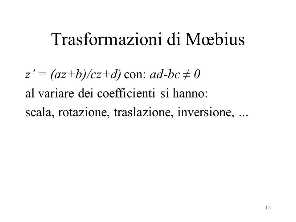 12 Trasformazioni di Mœbius z = (az+b)/cz+d) con: ad-bc 0 al variare dei coefficienti si hanno: scala, rotazione, traslazione, inversione,...