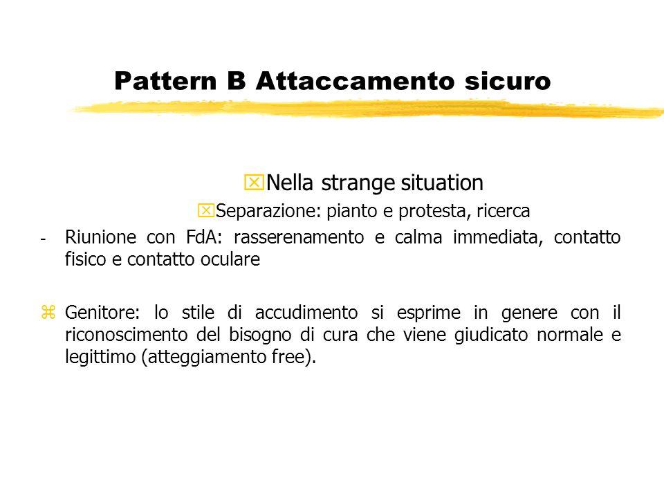 Pattern B Attaccamento sicuro xNella strange situation xSeparazione: pianto e protesta, ricerca - Riunione con FdA: rasserenamento e calma immediata,
