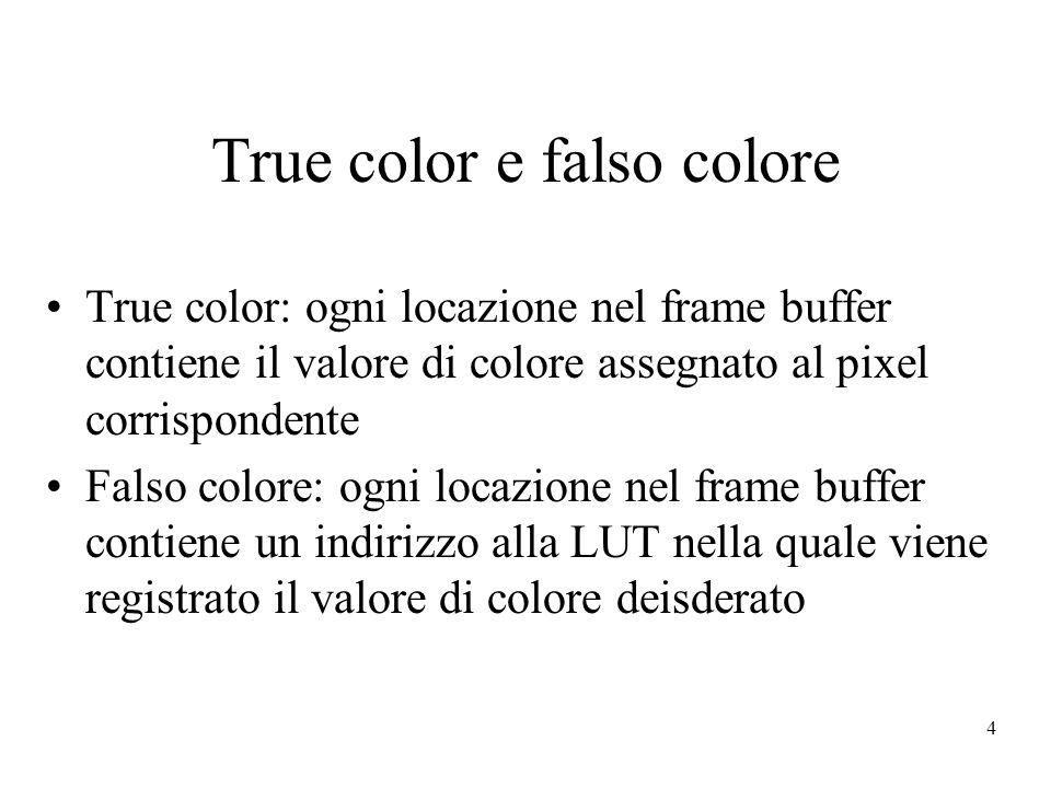 4 True color e falso colore True color: ogni locazione nel frame buffer contiene il valore di colore assegnato al pixel corrispondente Falso colore: ogni locazione nel frame buffer contiene un indirizzo alla LUT nella quale viene registrato il valore di colore deisderato