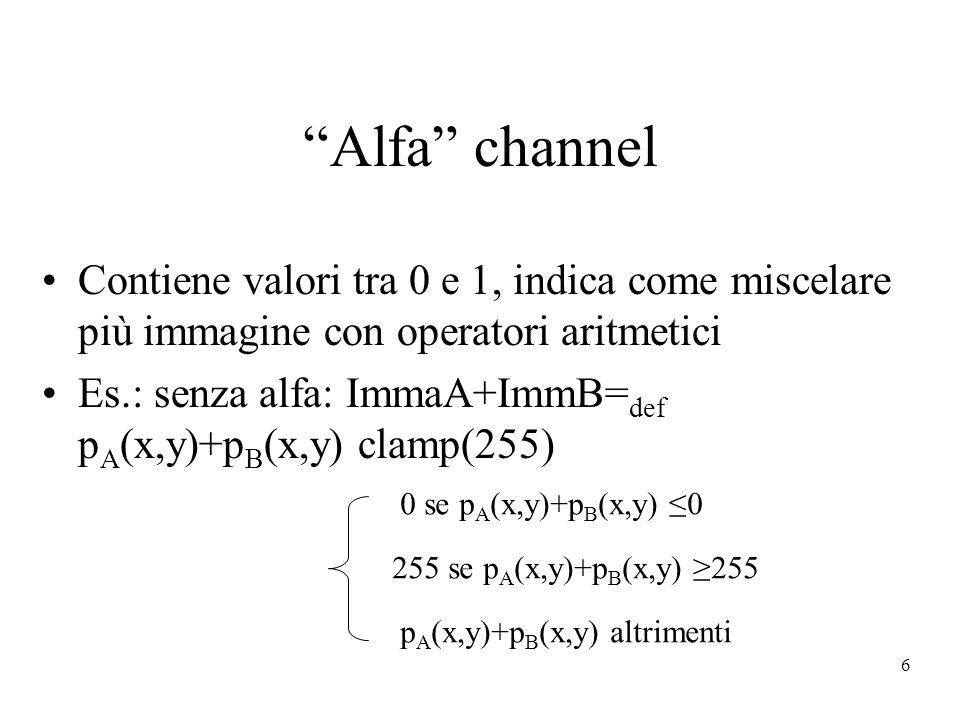 6 Alfa channel Contiene valori tra 0 e 1, indica come miscelare più immagine con operatori aritmetici Es.: senza alfa: ImmaA+ImmB= def p A (x,y)+p B (x,y) clamp(255) 0 se p A (x,y)+p B (x,y) 0 255 se p A (x,y)+p B (x,y) 255 p A (x,y)+p B (x,y) altrimenti