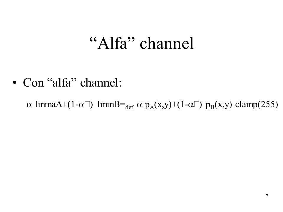 7 Alfa channel Con alfa channel: ImmaA+(1- ) ImmB= def p A (x,y)+(1- ) p B (x,y) clamp(255)