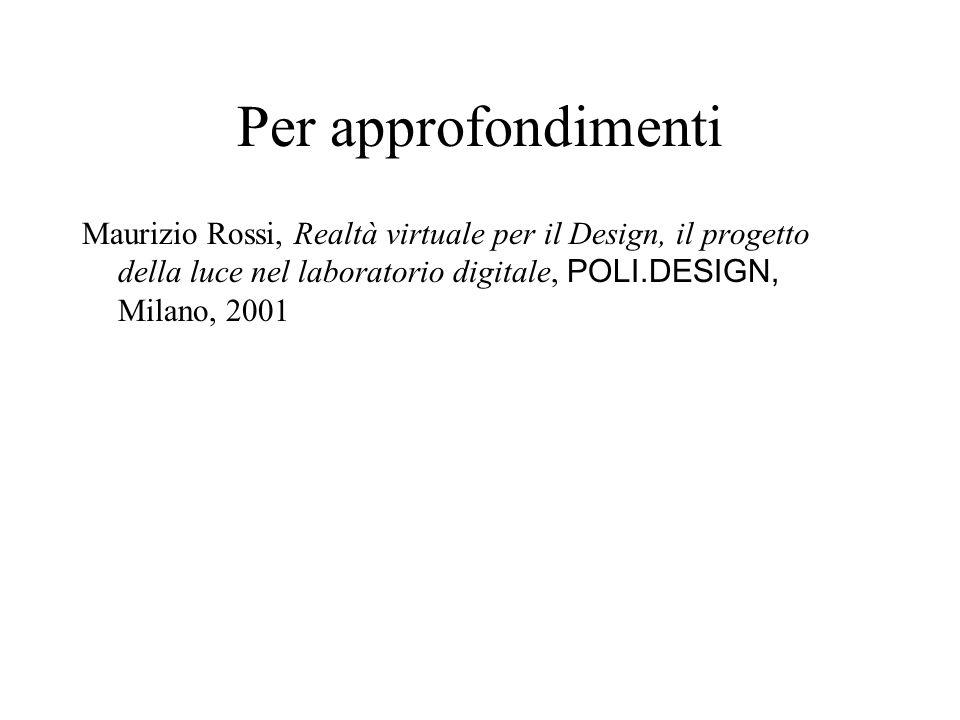 Per approfondimenti Maurizio Rossi, Realtà virtuale per il Design, il progetto della luce nel laboratorio digitale, POLI.DESIGN, Milano, 2001