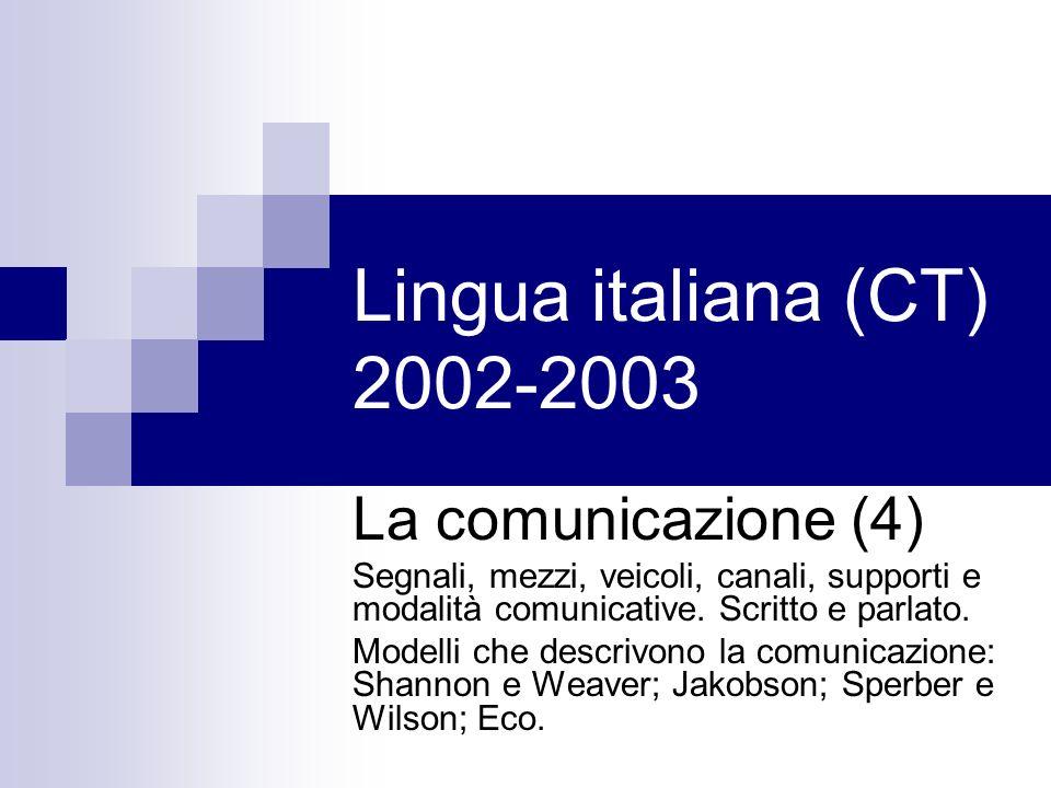 Lingua italiana (CT) 2002-2003 La comunicazione (4) Segnali, mezzi, veicoli, canali, supporti e modalità comunicative.