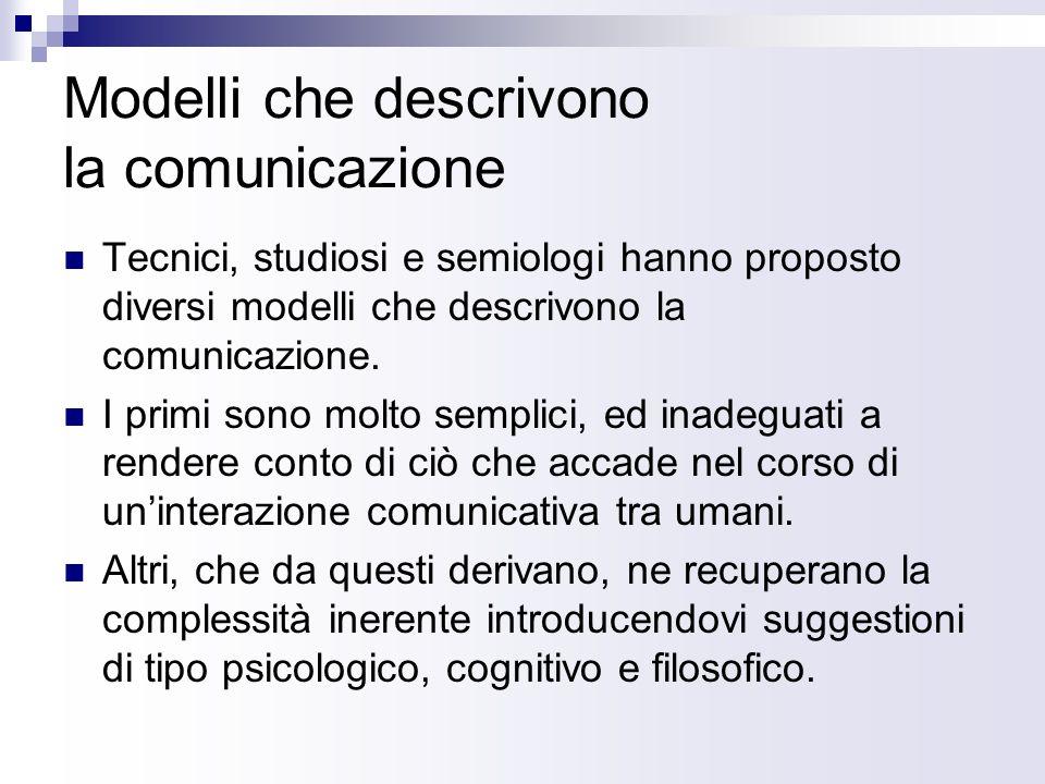 Modelli che descrivono la comunicazione Tecnici, studiosi e semiologi hanno proposto diversi modelli che descrivono la comunicazione.