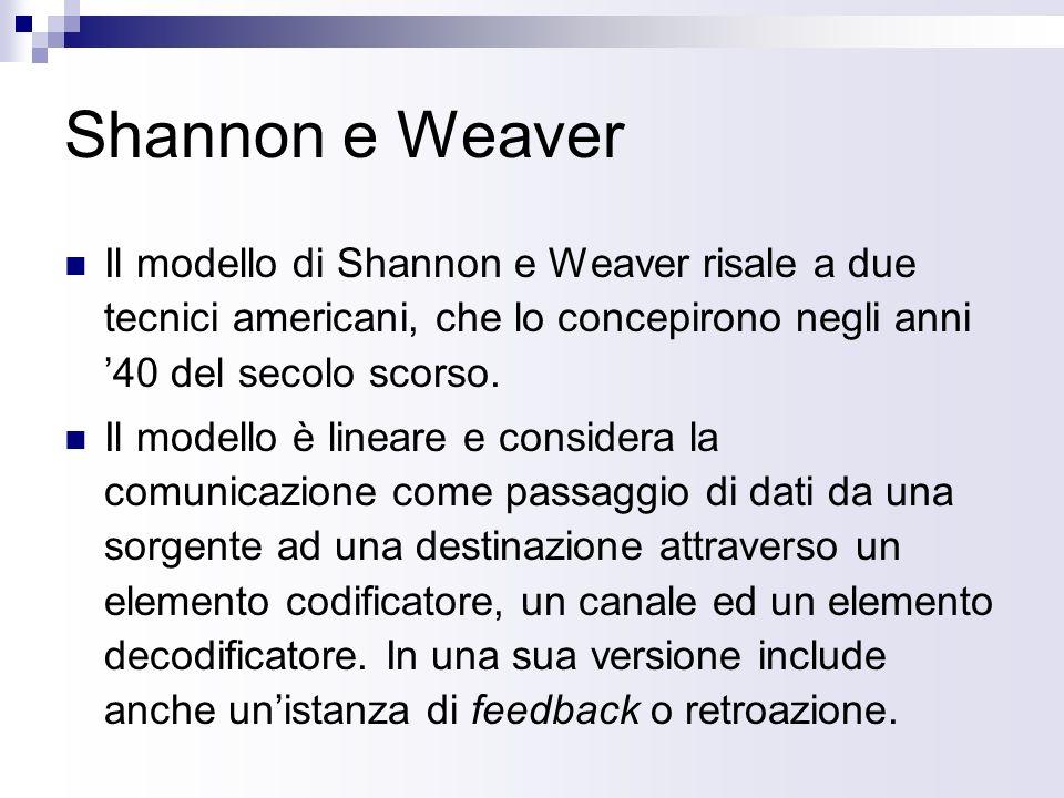 Shannon e Weaver Il modello di Shannon e Weaver risale a due tecnici americani, che lo concepirono negli anni 40 del secolo scorso.