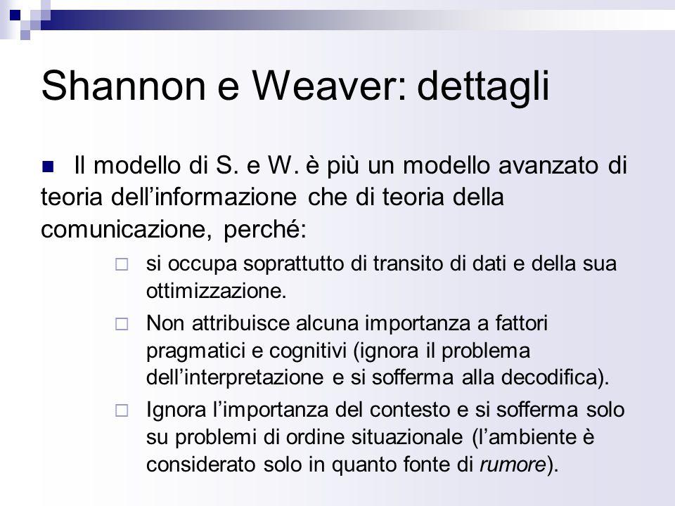 Shannon e Weaver: dettagli Il modello di S.e W.
