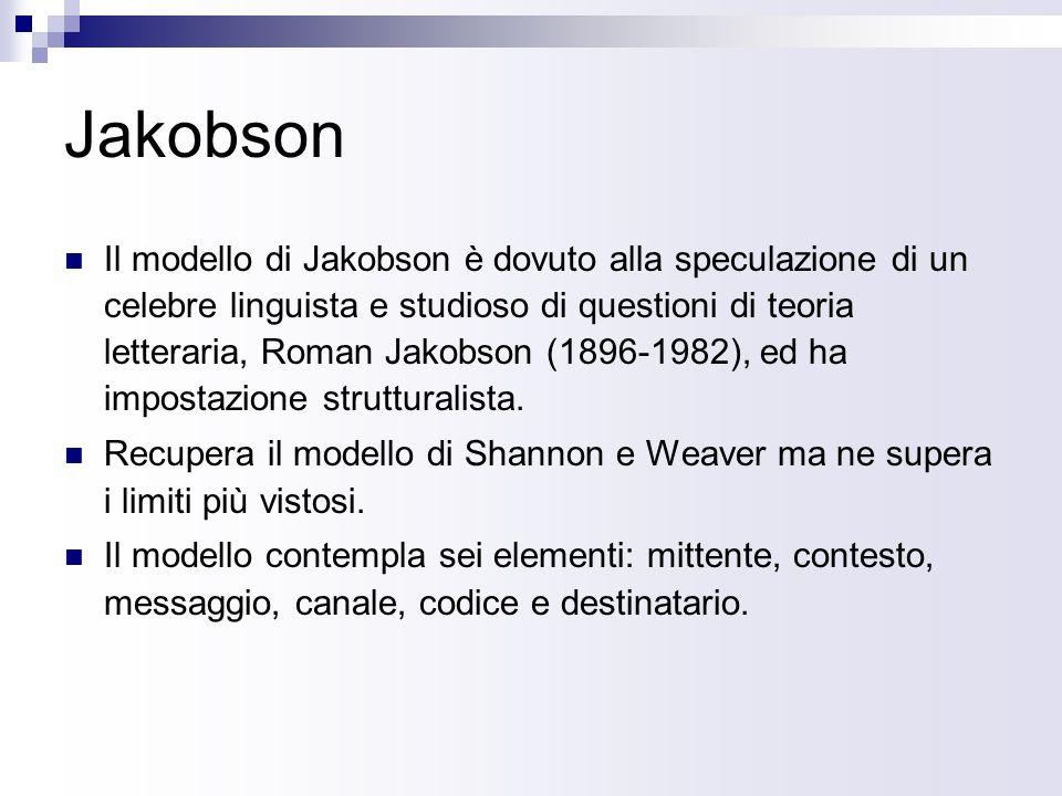 Jakobson Il modello di Jakobson è dovuto alla speculazione di un celebre linguista e studioso di questioni di teoria letteraria, Roman Jakobson (1896-1982), ed ha impostazione strutturalista.