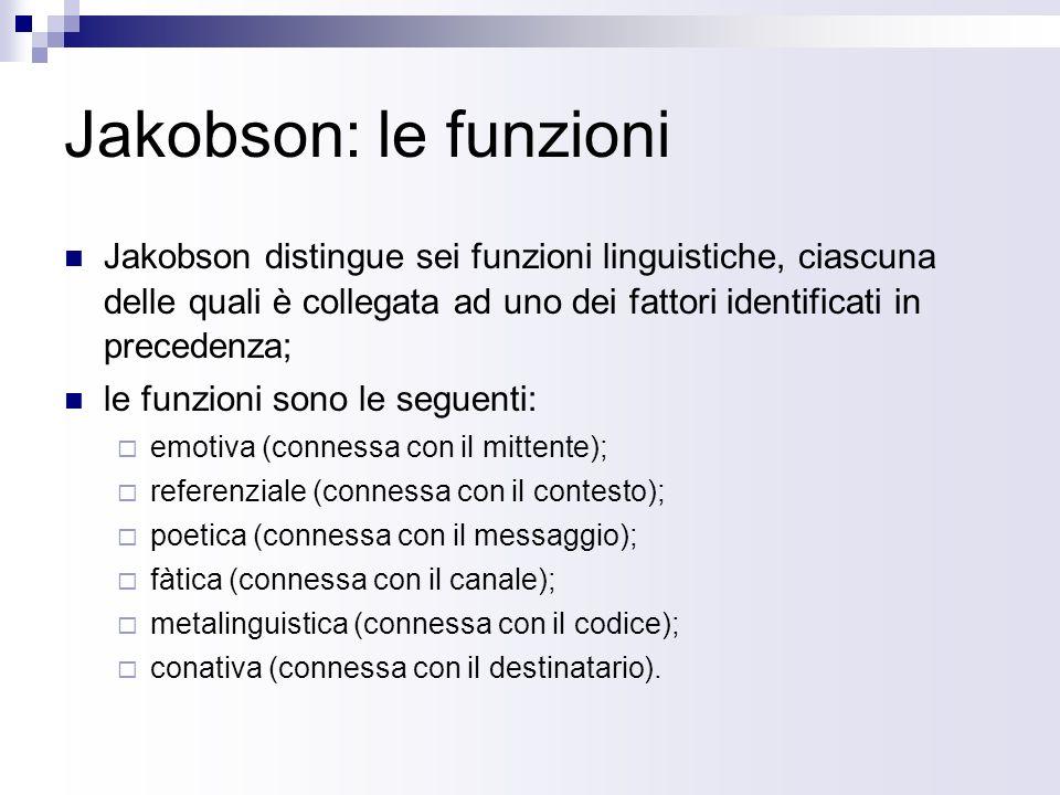 Jakobson: le funzioni Jakobson distingue sei funzioni linguistiche, ciascuna delle quali è collegata ad uno dei fattori identificati in precedenza; le funzioni sono le seguenti: emotiva (connessa con il mittente); referenziale (connessa con il contesto); poetica (connessa con il messaggio); fàtica (connessa con il canale); metalinguistica (connessa con il codice); conativa (connessa con il destinatario).