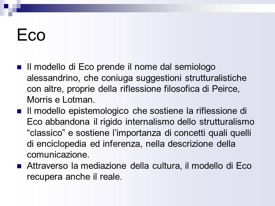 Eco Il modello di Eco prende il nome dal semiologo alessandrino, che coniuga suggestioni strutturalistiche con altre, proprie della riflessione filosofica di Peirce, Morris e Lotman.